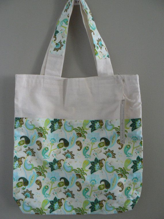 Green and Blue Paisley fabric design Tote Bag available at www.etsy.com/lizziedoodlesnz