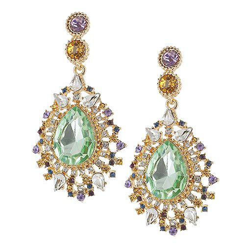 Baroque Style Multi Color Stone Deco Statement Drop Earrings Whoel24x7