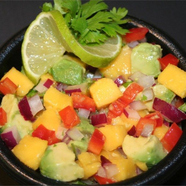 "Avocado Mango Salsa | ""Yowzers! Sweet and hot salsa with tangy mangoes and habaneros. Great with pork, chicken or fish or just with chips."" #recipe #healthy"