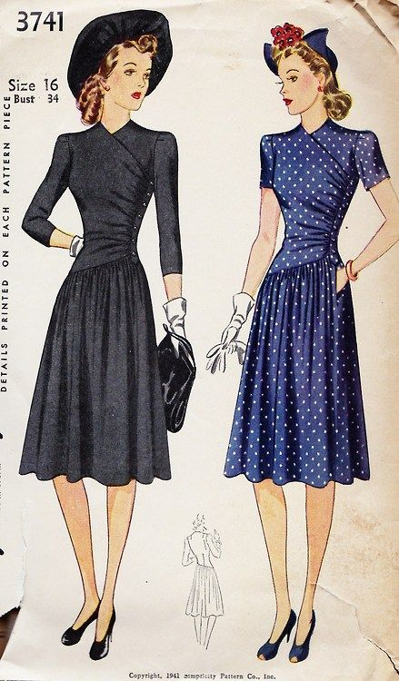 1941      Misses' and Women's dress. The right front of the bodice laps over the left and buttons under the left arm with a band and underlap. The skirt, joined to the blouse in a slanting seam, has a pocket in the opening of the left side. @1941