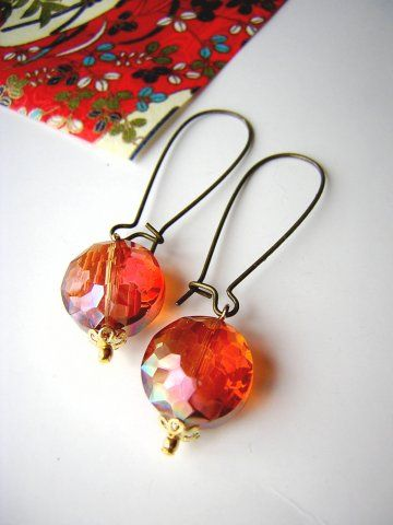 Flame Crystal Vintage Drop Earrings