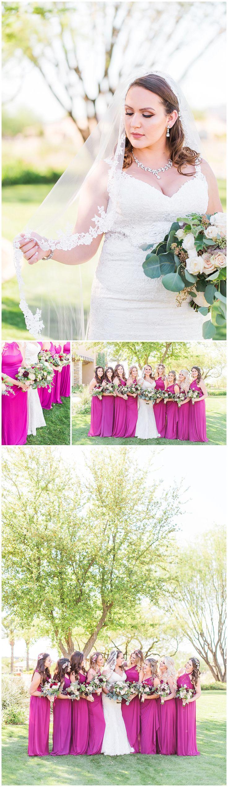 Spring Trilogy at Vistancia Wedding | Arizona Wedding Venue | Kiva Club | Pink Magenta | Bridal Portrait holding her Veil | Bouquet | Garden | Bridesmaids | Floor length Long Dresses | White Bridal Gown with Straps | Drew Brashler Photography