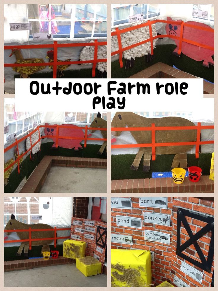 Outdoor role play area themed as a farm...something we could do to use up the straw!