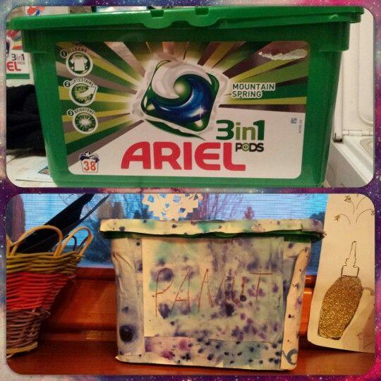 D.I.Y Arieles dobozból tároló  Kellékek:papír,(lehet csomagoló papír is) olló,ragasztó,arieles doboz. Tennivaló:vágj ki a papírból akkora nagyságút amekkora befedi a doboznak az eggyik felét.Aztán eszt addig ismételd amíg az egész dobozt befedi.Rá is írhatod hogy mot fogsz benne tárolni.Kész is,használatra készen áll!