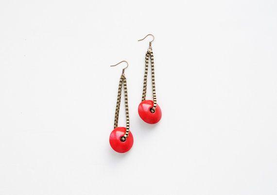 Red earrings chain earrings dangle earrings by elfinadesign