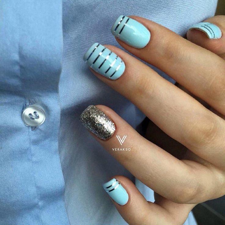 Beautiful nails 2017, Ideas of blue nails, Jeans nails, Medium nails, Nail art stripes, Nail polish for blue dress, Nails ideas 2017, Silver painted nails
