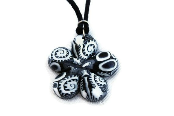 Black and white necklace elegant flower necklace by ShuliDesigns