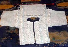 Este casaquinho é muito fácil de fazer e serve para um bebê de 3 a 4 meses. Eu usei 2 novelos da lã Chéri que não existe mais e era ótima,...