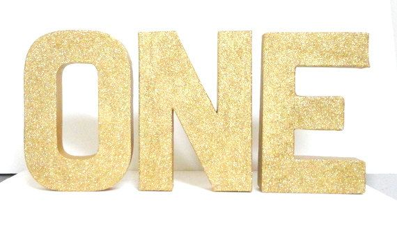 Gold Or Any Color Glittered 8 Inch Tall One Letters