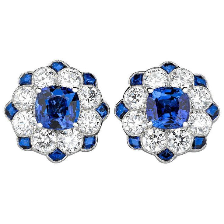 Blue Sapphire and Diamond Earrings, 2.54 Carat