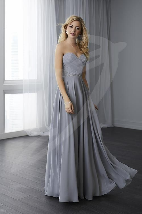 Balletts Bridal - 24819 - Bridesmaids by Jacquelin Bridals Canada - This chiffon bodice features intricate draping and a sweetheart neckline. A thin beaded belt is placed over the waist. The skirt is a full A-line, made up of chiffon. Pictured in Platinum.