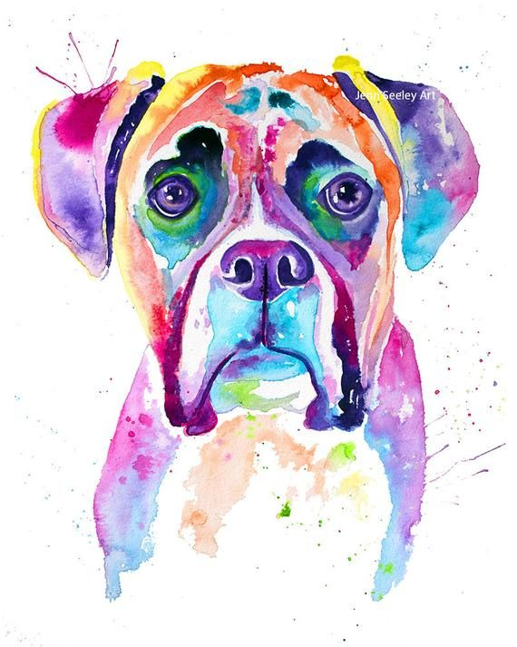 Boxer Watercolor Print Boxer Dog Boxer Dog Gifts Boxer Dog Art