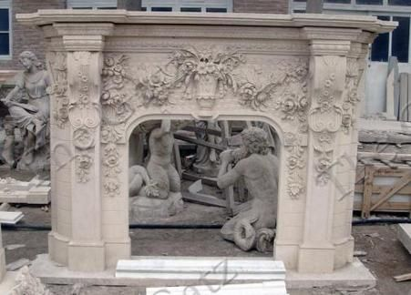Heavily Carved Large Marble Fireplace Mantel featuring Rose Inspired Design