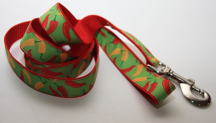 """Hot Peppers 1"""" Dog Leash. $18.00. Find Bonzai Gifts on facebook for more!"""
