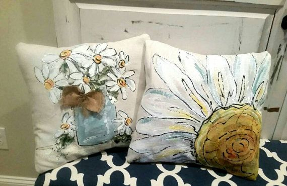 Mason Jar and Daisies,Spring, Indoor/Outdoor Cushions,  Bridal Gifts, Wedding, Rustic Wedding, Hand-painted, Pillow Cover