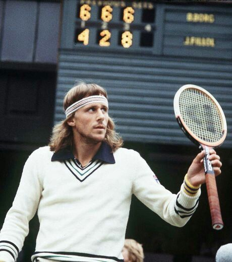 Björn Borg acknowledges the crowd following his 6-4 6-2 6-8 6-4 Third Round victory over Jaime Fillol of Chile during the 1978 Wimbledon Championships. The Swede would go on to claim his third title at the All England Club the following weekend.