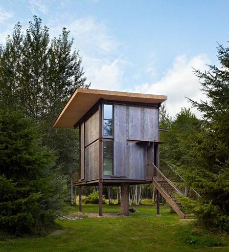 "Tom Kundig creates ""virtually indestructible"" steel cabin on stilts"