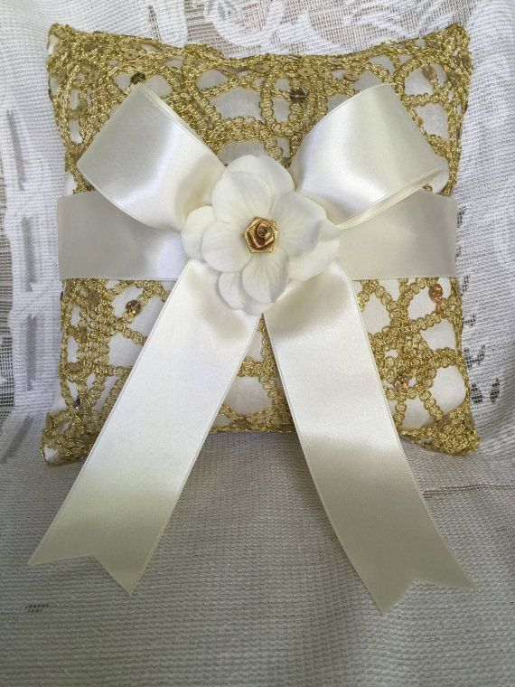 gold ring bearer pillow gold wedding by TheCrystalFlower on Etsy