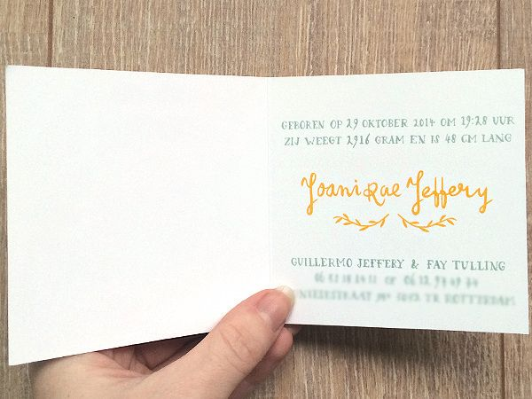 Made by Marianne Lock / Birth announcement card / Joani Rae / Baby / Illustration / Typography / Handwritten