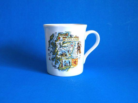 Scotland Map Souvenir Mug  Scottish Highland Piper by FunkyKoala