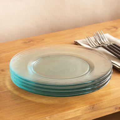 """VALENCIA DINNER PLATES, SET OF 4--Infused with warm Mediterranean sunlight, our completely recycled glass plates are ever-so-slightly teal-tinted and meticulously molded for the sort of rough-edged refinement that's perfect for spontaneous gatherings, patio parties and balmy brunches. Not microwave safe. Hand wash. Made in Spain. Exclusive. Set of 4, 11"""" Dia."""