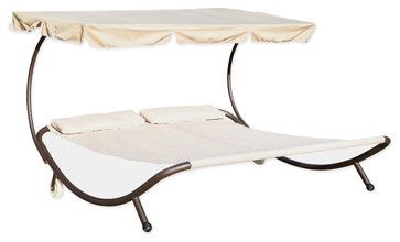 Double Hammock Bed Sunbed with Canopy beach-style-daybeds