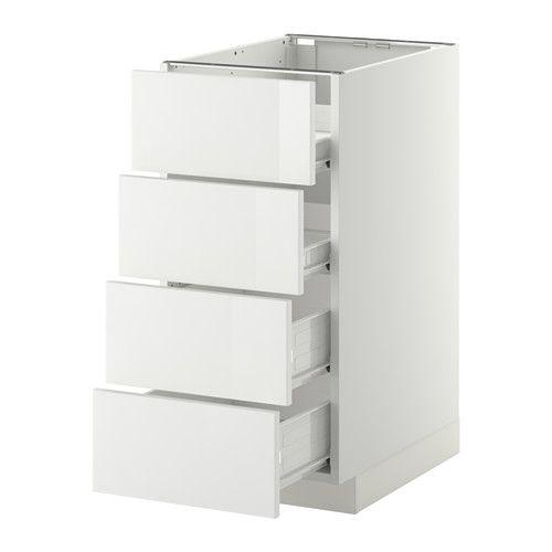 IKEA - METOD / FÖRVARA, Élt bas 4 faces/4 tiroirs, blanc, Ringhult brillant blanc, 40x60 cm, , Le tiroir coulisse facilement et il est pourvu d'un arrêt.Structure de construction solide - 18 mm d'épaisseur.