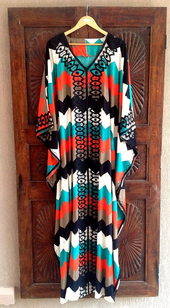 Chevron cotton caftan embroidered maxi dress