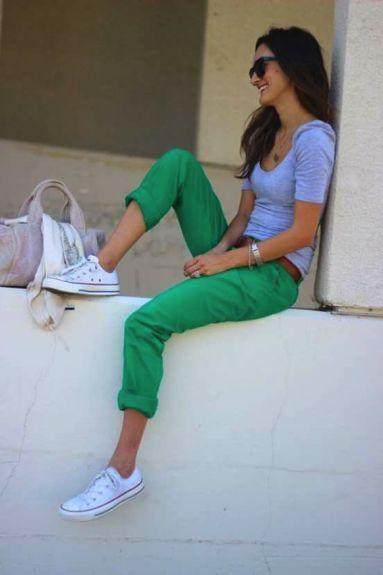 Calça verde e All Star