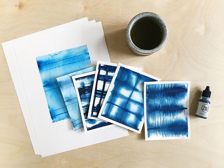 Teilen einer DIY-Technik für Shibori-Designs mit Aquarell auf Papier – …