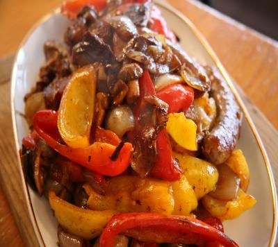 Lidia's Sausage and Peppers!  Cooked this way, you will have the best Sausage and Peppers ever!!