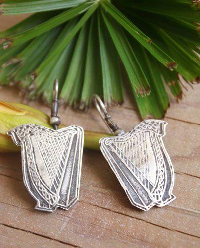 Boucles d'oreilles Harpe celtique, bijou instrument de musique celte en argent
