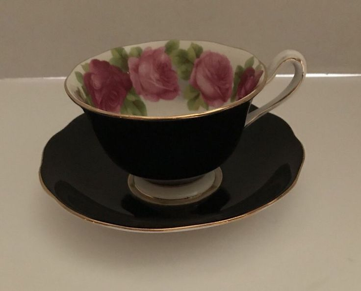 Royal Albert Old English Rose Black Teacup & Saucer  | eBay