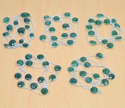 Mixed Lots 64511: 925 Silver Plated Wholesale 5Pc Faceted Green Emerald Long Chain Necklace Lot BUY IT NOW ONLY: $33.99