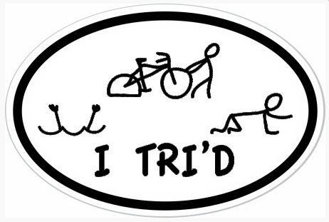 "I always said, ""I want to do a triathlon then get a sticker that says, ""I Tri'd""."" Now I found it!"