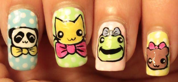 Детский маникюр с рисунками животных ::: onelady.ru ::: #nail #nails #nailart #manicure