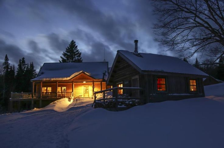 Red Quill cabin (front) and Little Lyford Lodge (rear) in Maine's North Woods.