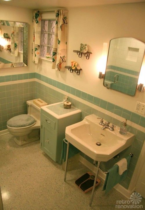 Vintage-blue-bathroom - This is a new bathroom construction made with vintage items to match a house that is from 1945. Awesome!