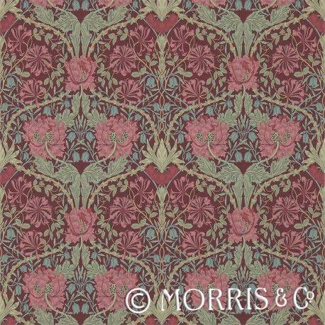Morris & Co Tapet Honeysuckle & Tulip Burgundy/Sage