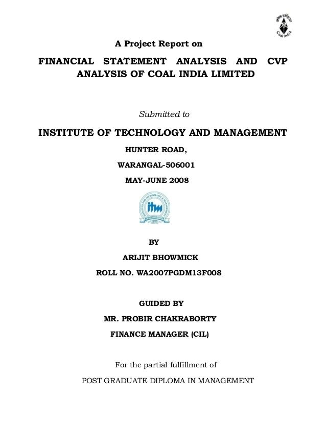 Project Report on Financial Statement Analysis by arijitbhowmick via slideshare