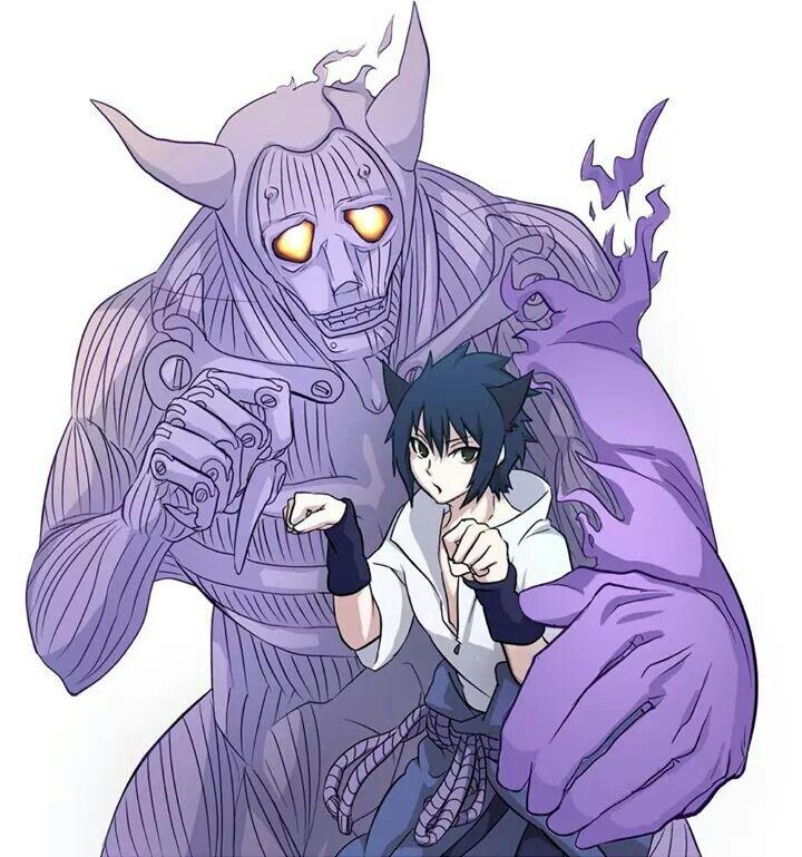 Sasuke & Susano'o XD kawaii I love you u know I love you