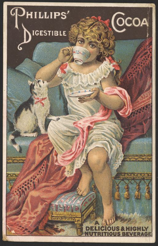 """Victorian girl with cat """"Phillips' Digestible Cooa' trade card"""