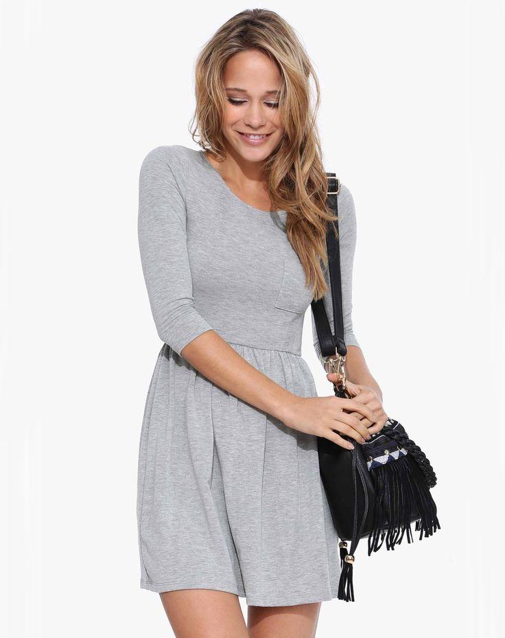 Vestido Casual manga media-gris 15.72