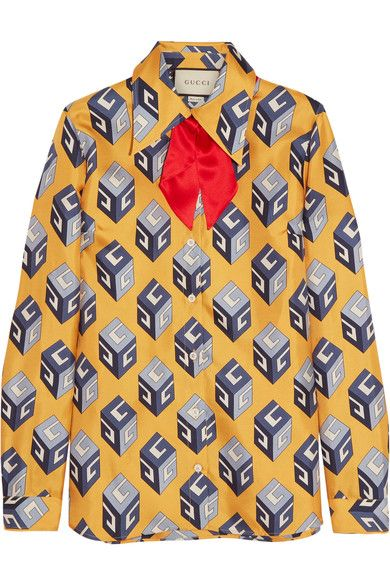 Gucci - Pussy-bow Printed Silk-twill Shirt - Yellow - IT