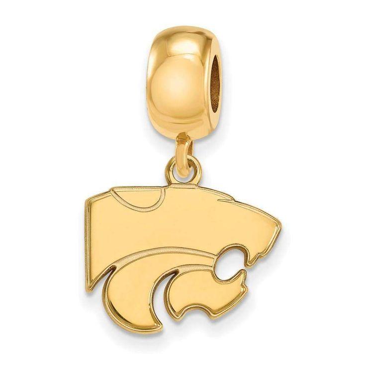 Sterling Silver w/GP LogoArt Kansas State University Small Dangle Bead