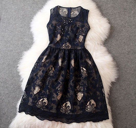 Noble Palace Printed Hand-beaded Embroidery Lace Party Dress &Dress|Fashion Dresses - Clothing & Apparel|ByGoods.com