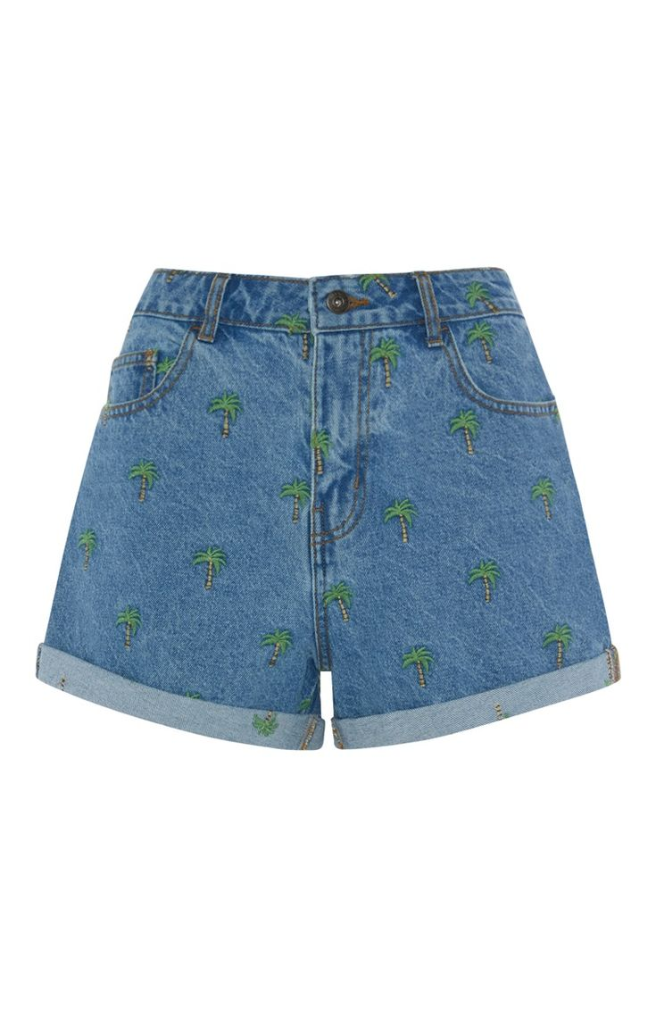 Palm Print Embroidered Denim Short, Primark, The Mall Luton