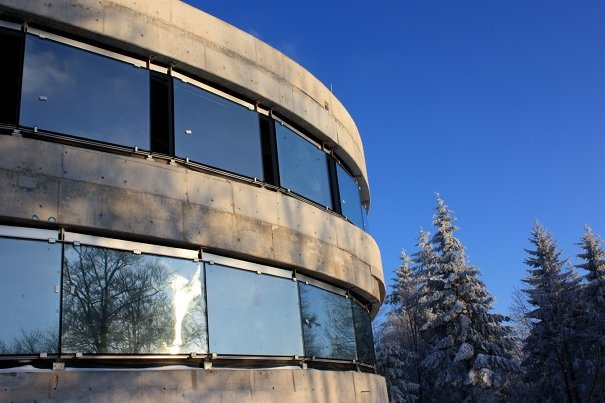 Blue sky, white snow, concrete galaxy... Haus der Astronomie: Heidelberg, Germany.