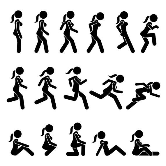 Stick Figure Female Girl Lady Woman Women Actions Movement Postures Poses Walk Walking Run Running Dashing Tip Toe Download Png Svg Vector In 2021 Stick Figures Sketch Book Stock Illustration