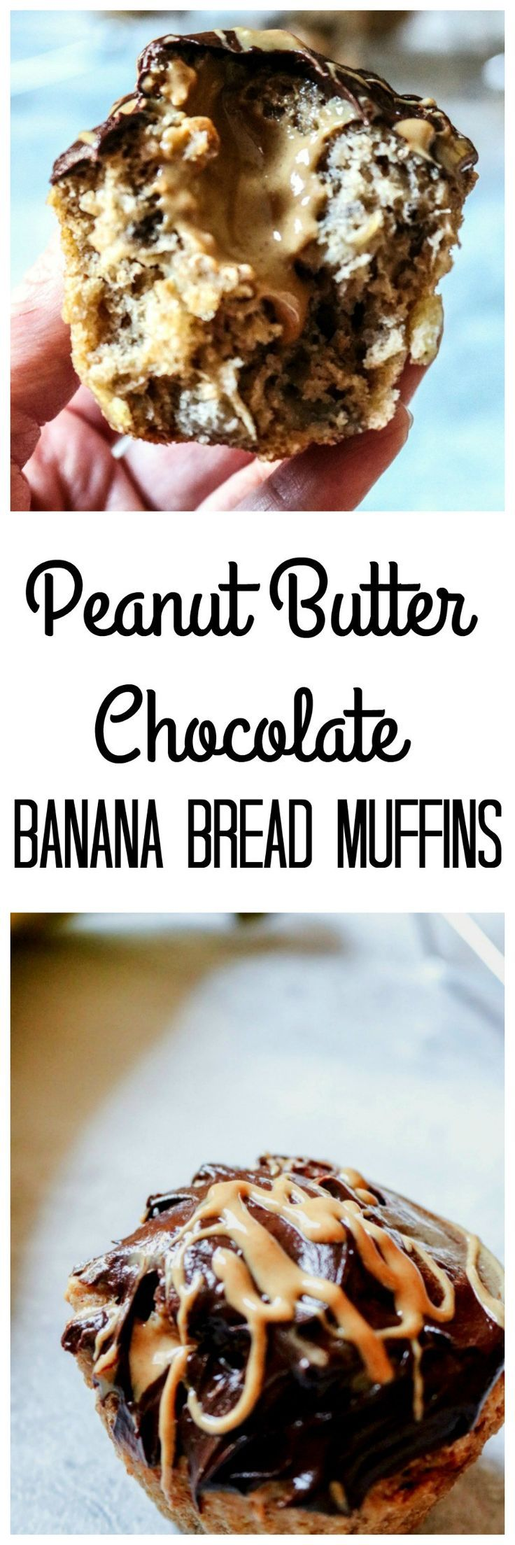 Peanut Butter Chocolate Banana Bread Muffins: A whole wheat banana bread muffin is stuffed with peanut butter and then topped with a rich chocolate ganache, for an out of this world muffin that is healthy enough for breakfast, yet decadent enough for dessert.